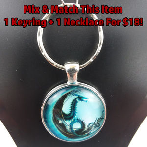 Blue Dragon Photo Glass Cabochon Keychain